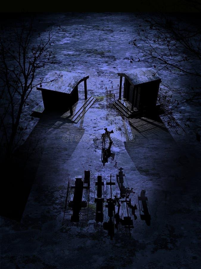 Czaszka cmentarz ilustracja wektor