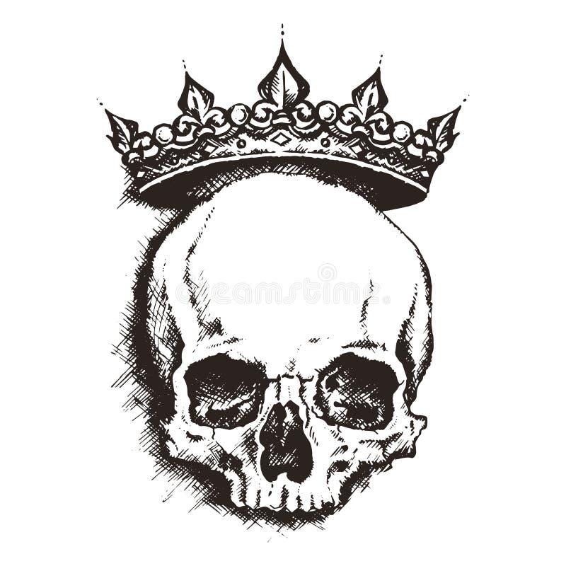 czaszka Grawerować styl również zwrócić corel ilustracji wektora royalty ilustracja