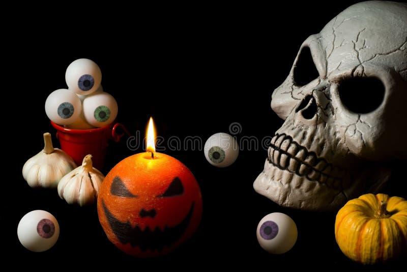 czaszka halloween eyeballs Świeczka Bania zdjęcia stock