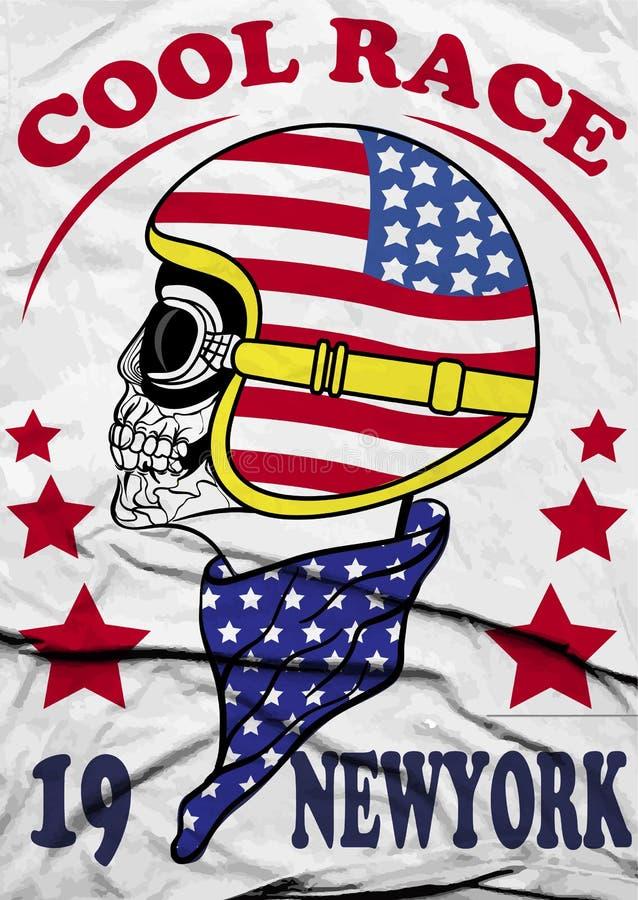 Czaszka hełma York silnika rasy rocznika motocyklu rasy Nowej ręki koszulki rysunkowy druk royalty ilustracja