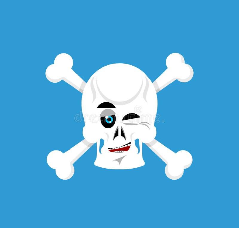 Czaszka i crossbones mrugnięcia Emoji kościec kierownicza szczęśliwa emocja ja ilustracja wektor