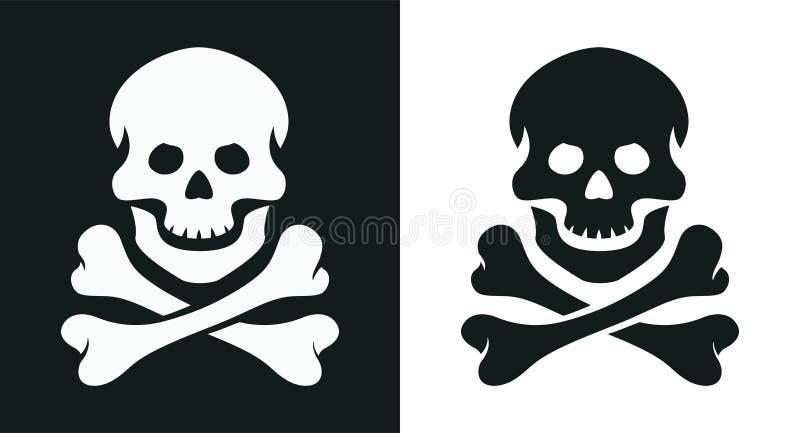 Czaszka i kość jolly Roger pirata symbol również zwrócić corel ilustracji wektora ilustracja wektor