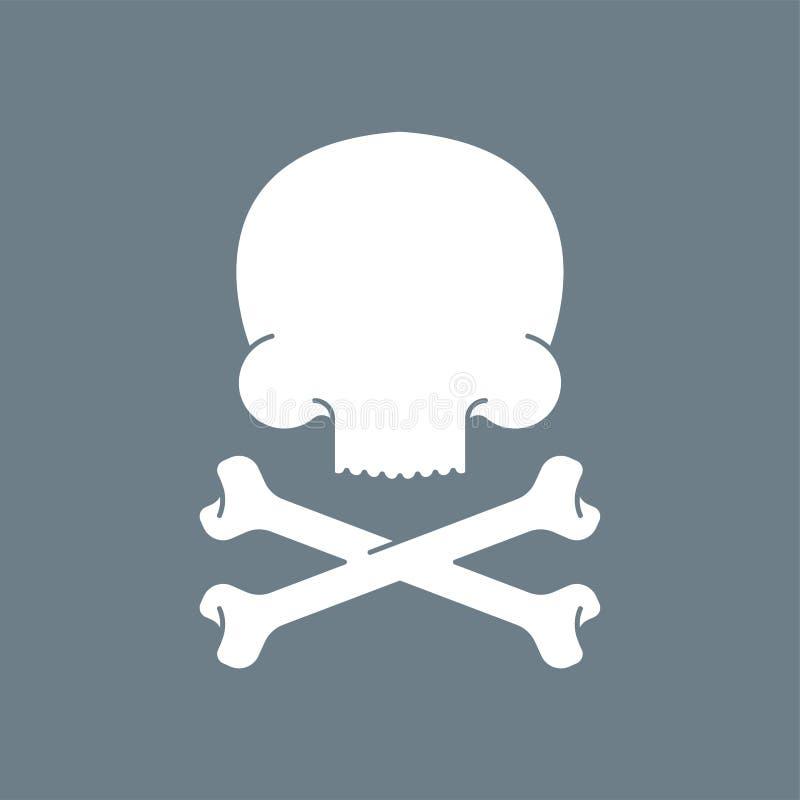 Czaszka i kości Śmiertelny symbol Crossbones zredukowani Wektorowy illus ilustracja wektor