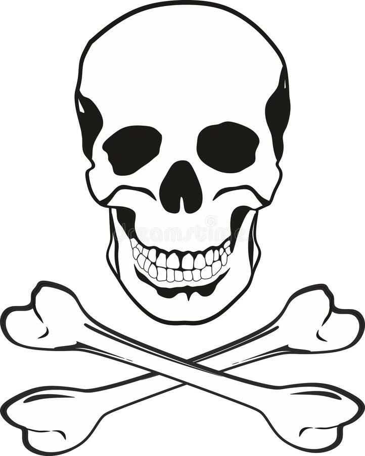Czaszka i kości royalty ilustracja