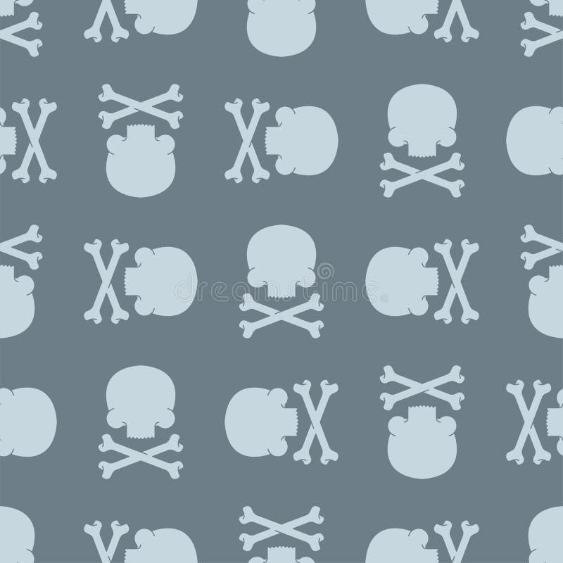 Czaszka i kości deseniujemy bezszwowego Śmiertelny tło Crossbones s royalty ilustracja