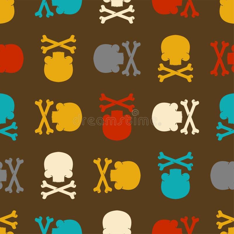 Czaszka i kości deseniujemy bezszwowego Śmiertelny tło Crossbones s ilustracja wektor