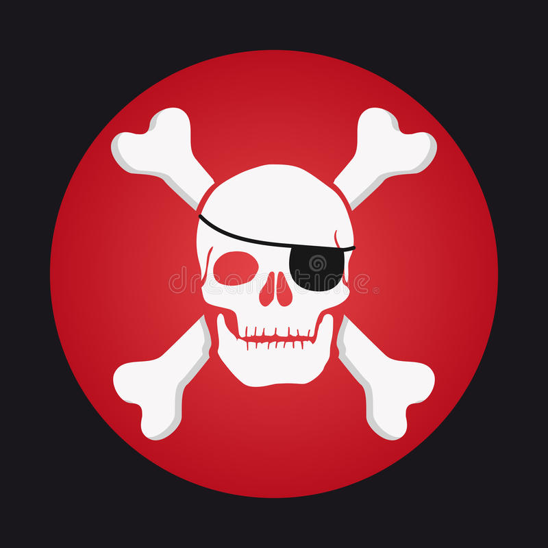 Czaszka i kości, eyepatch pirat royalty ilustracja