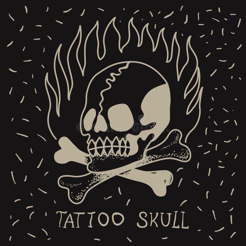 Czaszka i kości na ogieniu na czarnym tle ilustracji