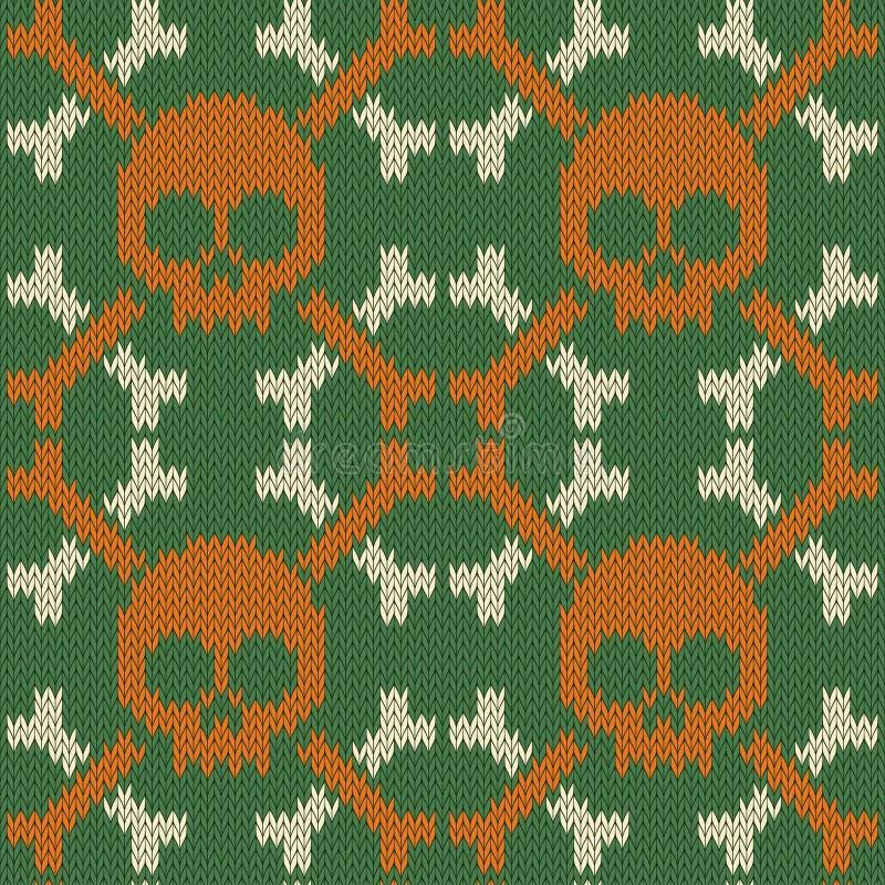 Czaszka i ko?ci Trykotowy bezszwowy woolen wzór w zielonych cieniach ilustracja wektor