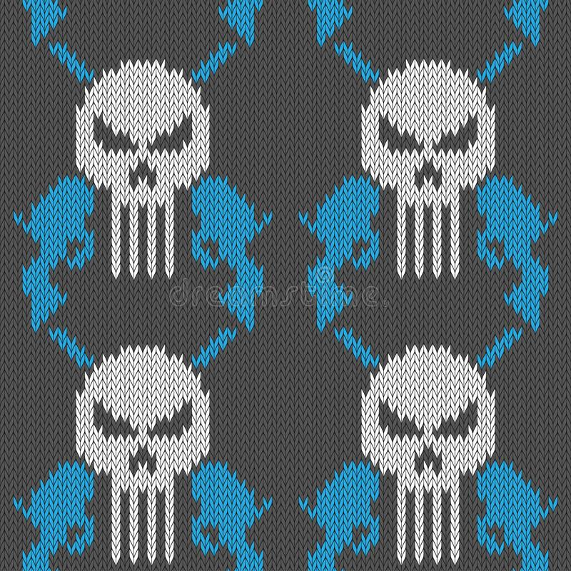 Czaszka i kr?cicy Bezszwowy trykotowy woolen wzór z czaszką i dwa koltami royalty ilustracja