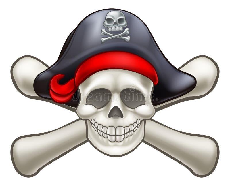Czaszka i krzyż kości pirat ilustracji