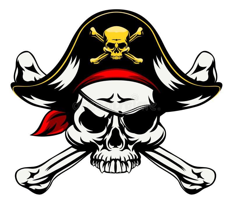 Czaszka i Krzyżujący kość pirat ilustracji
