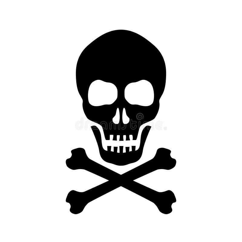 Czaszka i krzyżujący kości niebezpieczeństwa znak ilustracja wektor