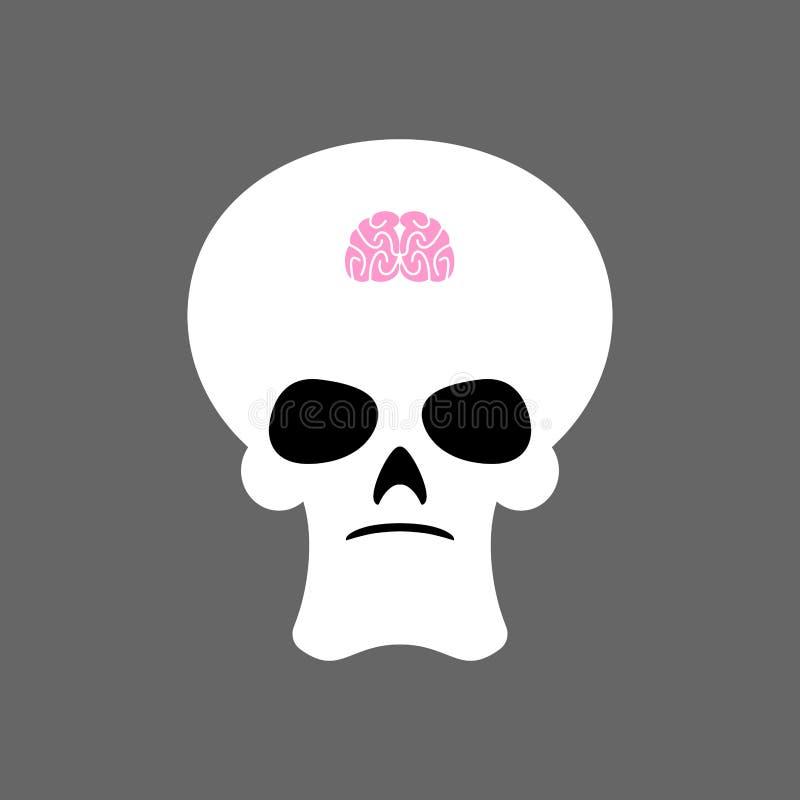 Czaszka i mały mózg Promieniowanie rentgenowskie głupi Mały umysł i kościec royalty ilustracja