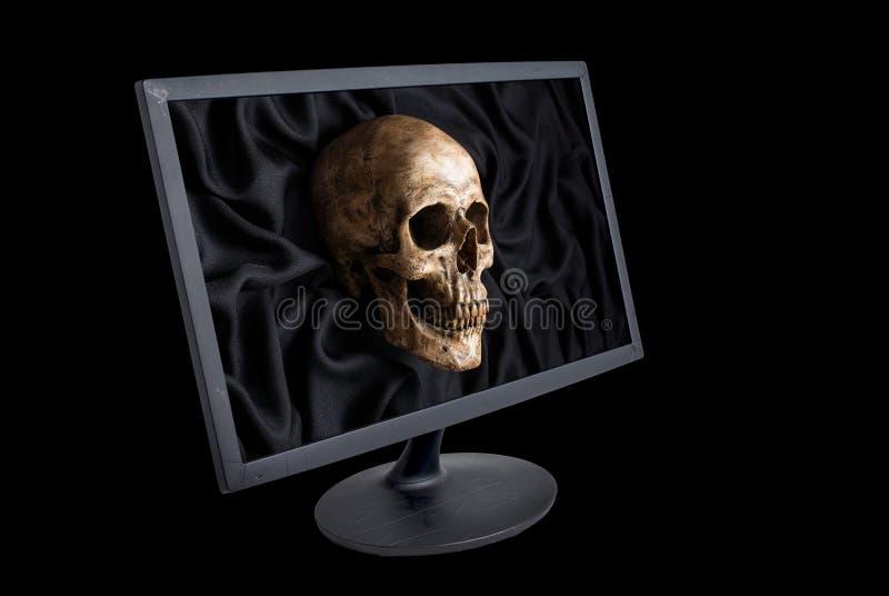 Czaszka i monitor obraz stock