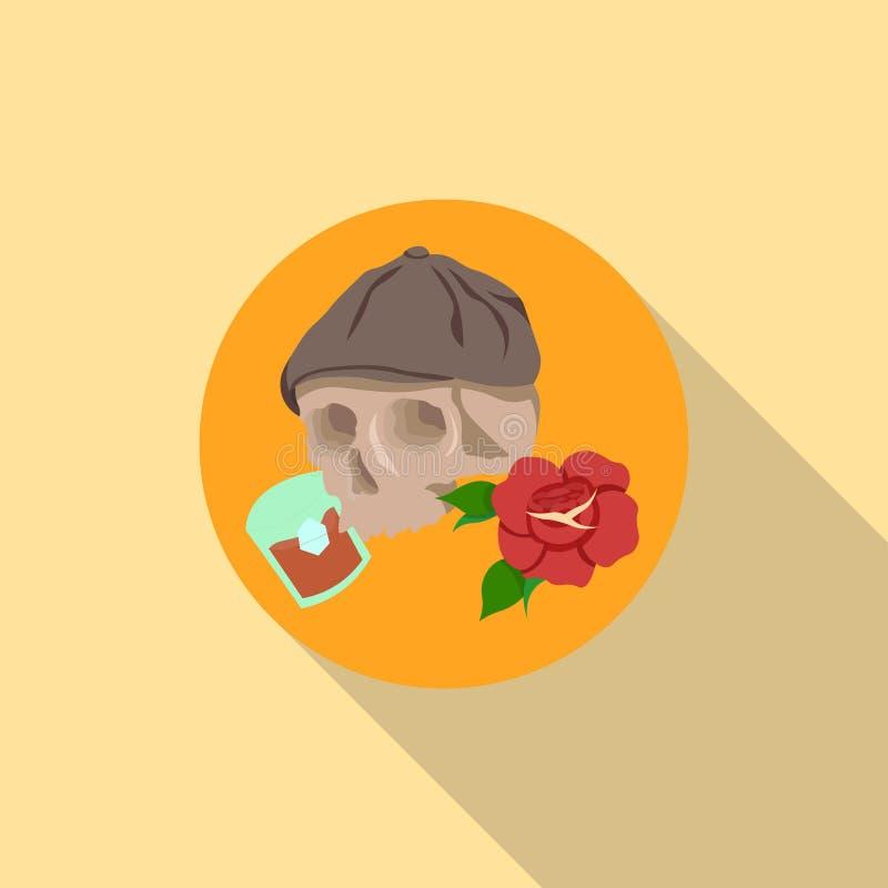 Czaszka i whisky, różana ikona zdjęcia royalty free