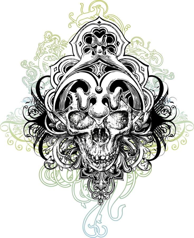 czaszka ilustracyjny wojownik ilustracja wektor