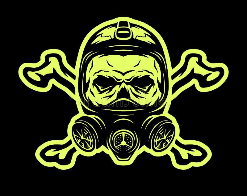 Czaszka jest ubranym maskę gazową i crossbones ilustracji
