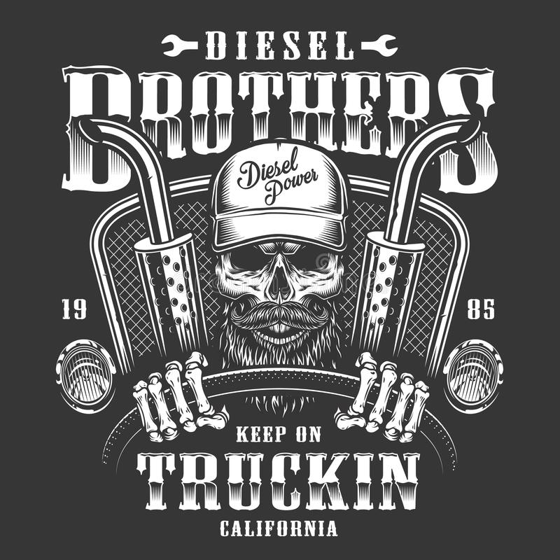 Czaszka kierowcy ciężarówki druk ilustracji