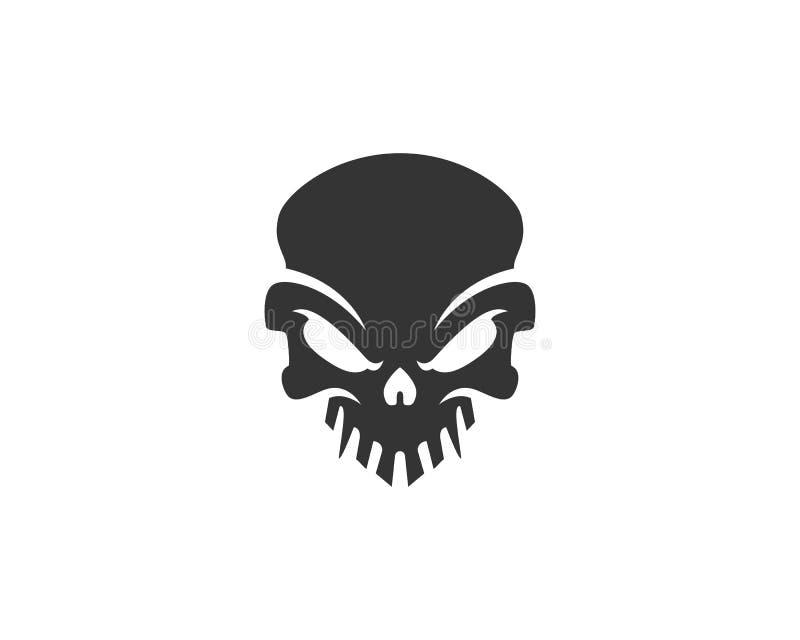 Czaszka logo, ikona lub czaszki ilustracja, wektor kościec ilustracji