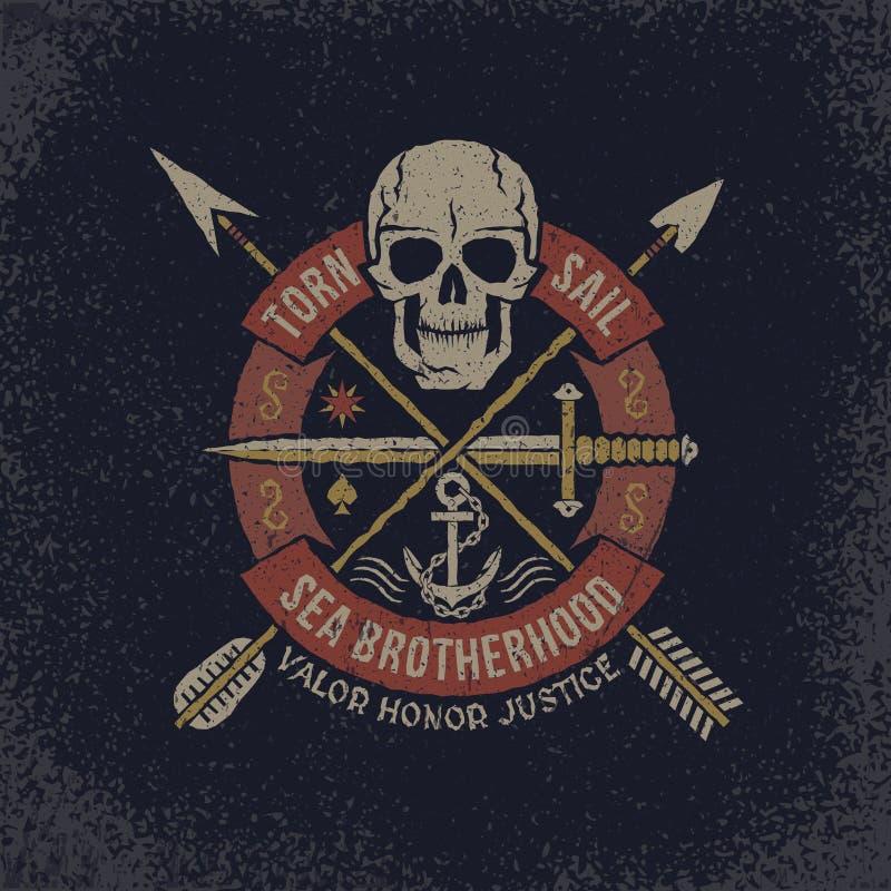 Czaszka logo w grunge ilustracja wektor