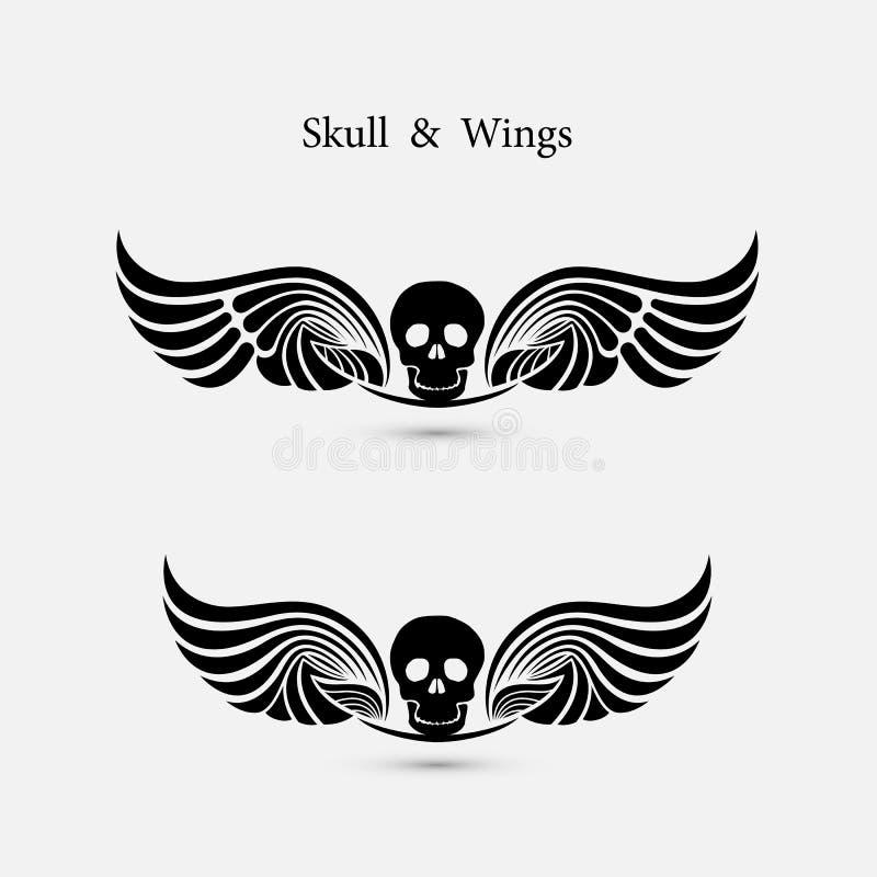 Czaszka logo z czarcim skrzydło loga projekta szablonem Ducha symbo ilustracja wektor