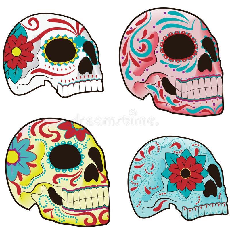 czaszka meksykański ustalony cukier royalty ilustracja