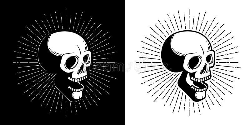 Czaszka modni? z sunburst - druku styl royalty ilustracja
