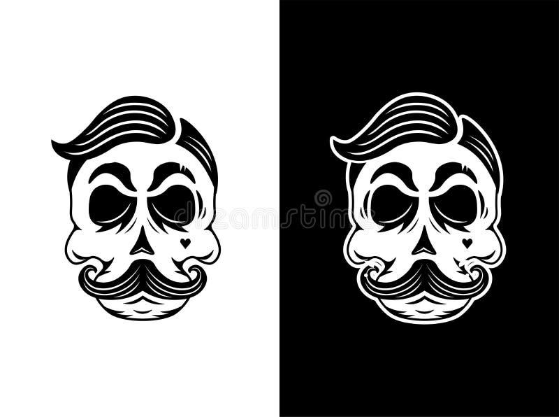 Czaszka modnisia wąsy i włosy ilustracji