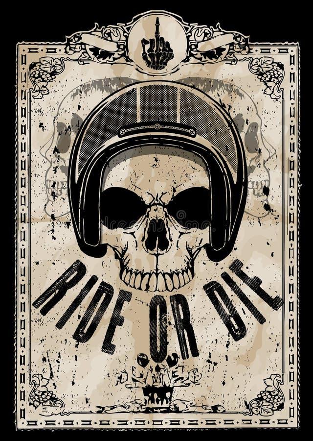 Czaszka motocyklu hełma T koszulowy Graficzny projekt royalty ilustracja