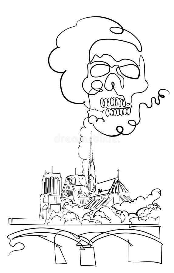 Czaszka, notre-dame de paris katedra pali ilustracja wektor