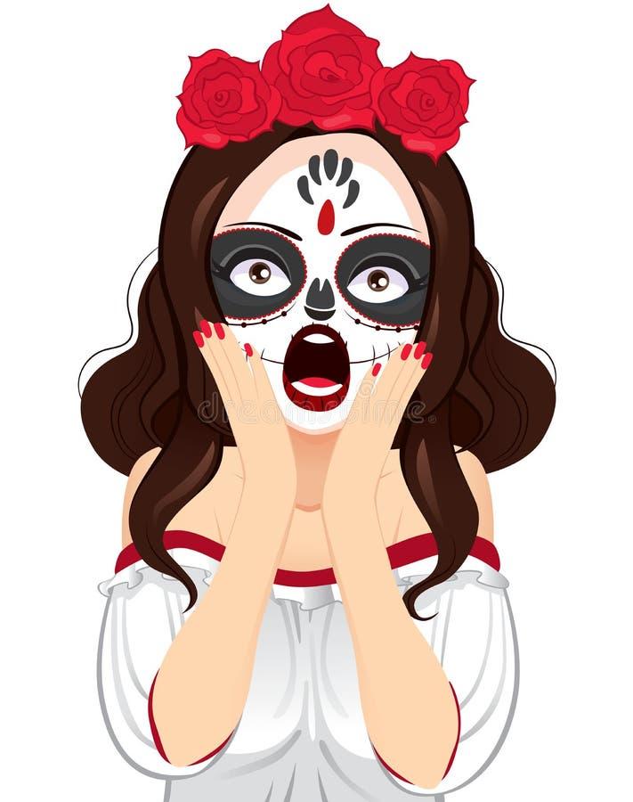 Czaszka obrazu kobiety Krzyczeć ilustracja wektor