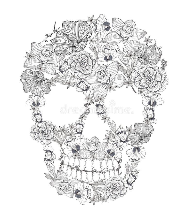Czaszka od kwiatów. ilustracja wektor