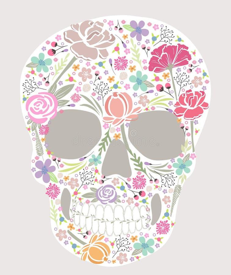 Czaszka od kwiatów ilustracja wektor