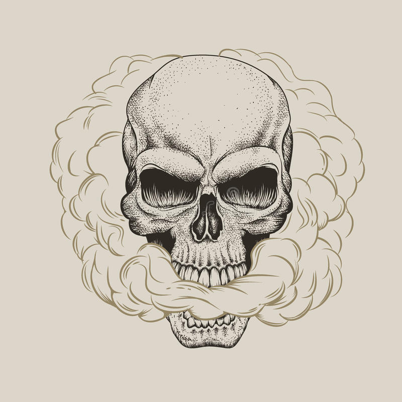 Czaszka oddycha dym ilustracji