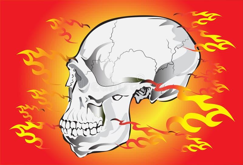 Czaszka ogień i skała ilustracji