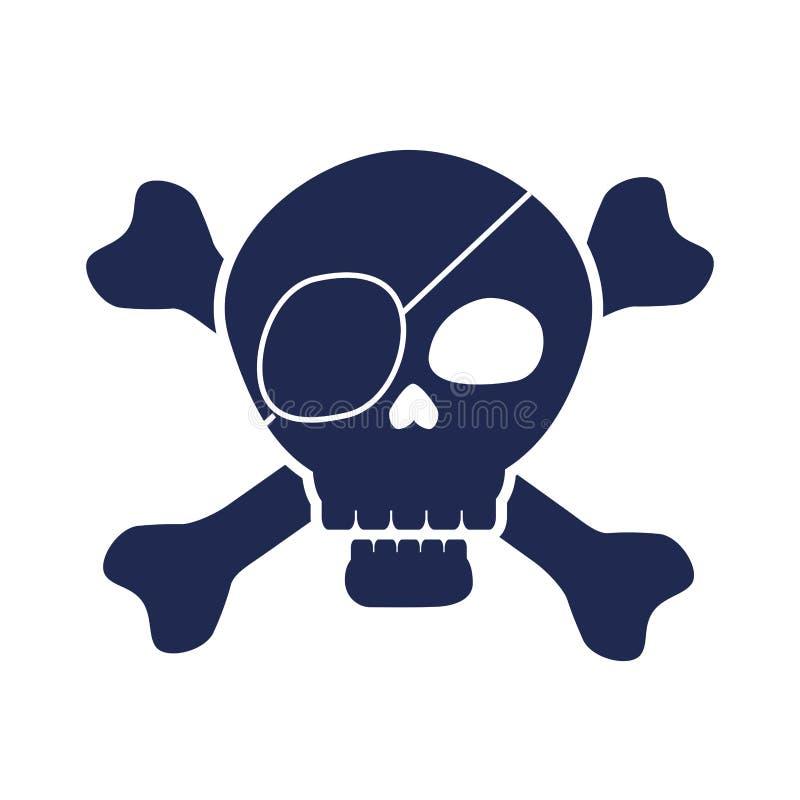 Czaszka pirata elegancka rama royalty ilustracja