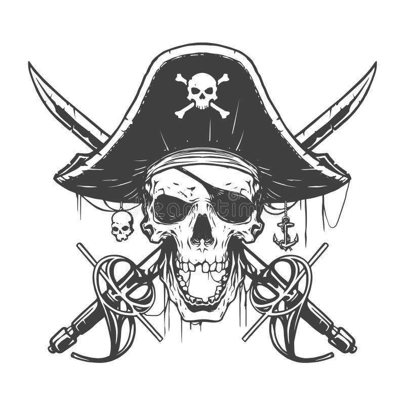 Czaszka pirata ilustracja ilustracji