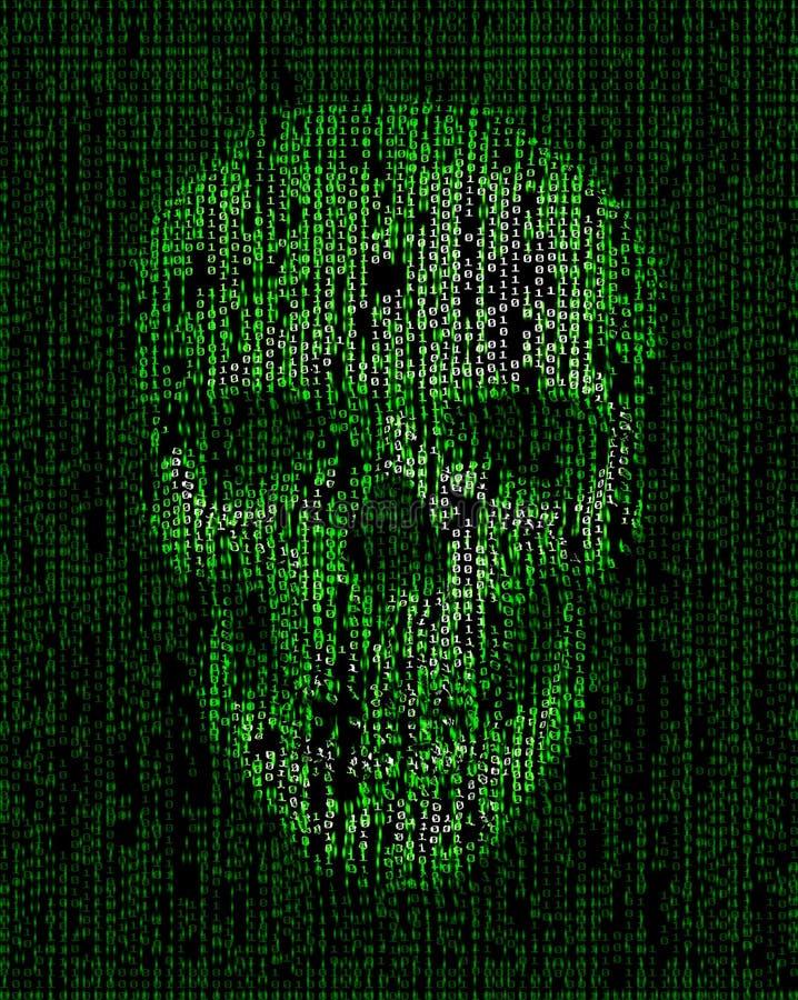 Czaszka robić binarny kod Hacker, cyber wojny symbol royalty ilustracja