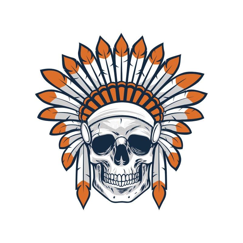 Czaszka Rodzimy Indiański Amerykański wojownik ilustracja wektor