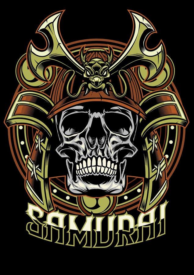 Czaszka samuraja wojownik royalty ilustracja