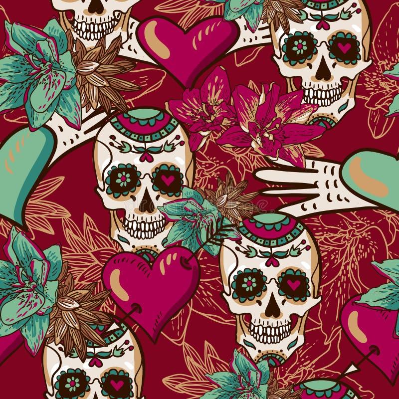 Czaszka, serca i kwiatu Bezszwowy tło, royalty ilustracja
