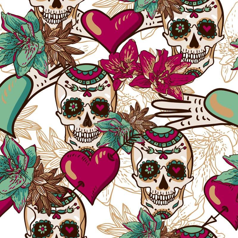 Czaszka, serca i kwiatu Bezszwowy tło, ilustracja wektor