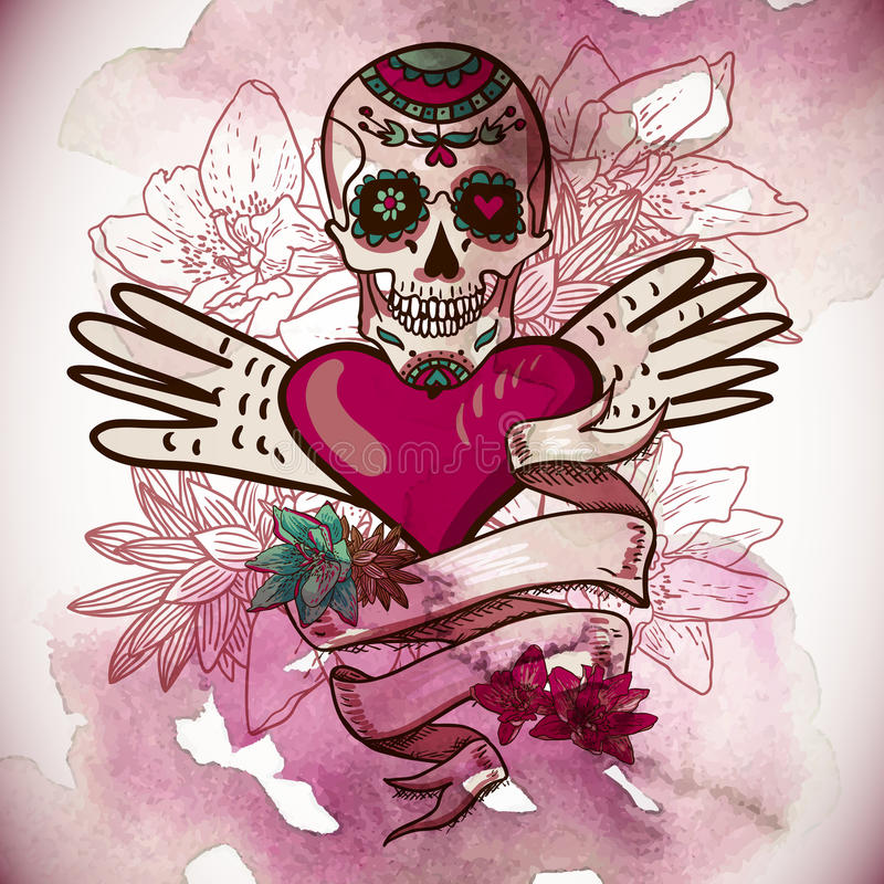 Czaszka, serca i kwiatu wektoru ilustracja, ilustracji
