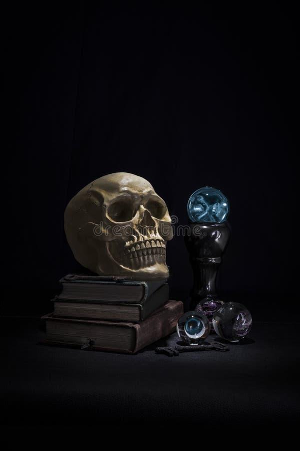 Czaszka siedział na książkach z rozjarzoną magiczną kryształową kulą fotografia royalty free
