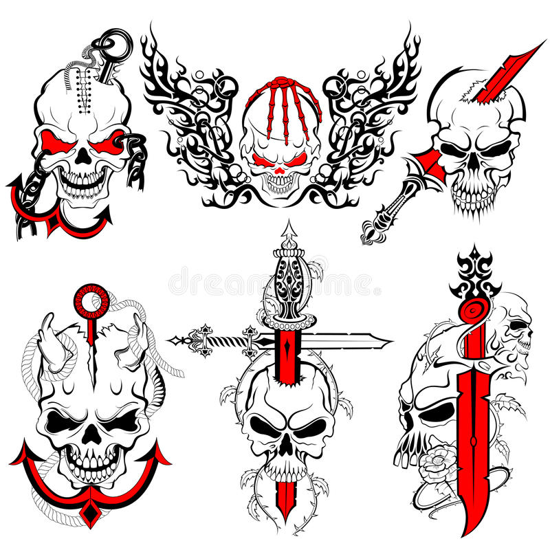 Czaszka tatuażu projekt ilustracji