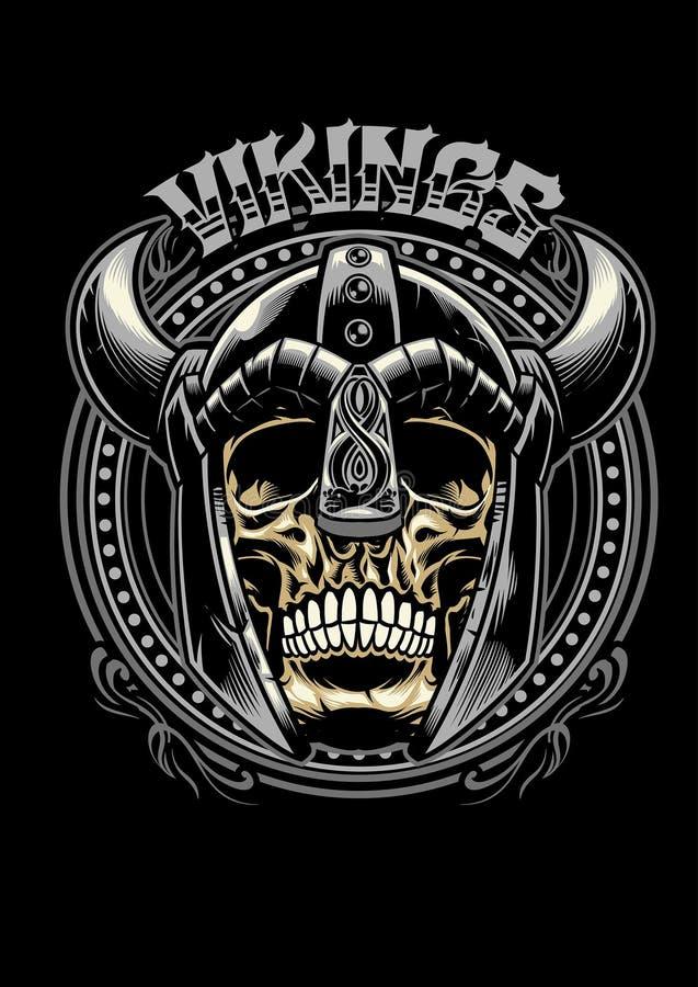 Czaszka Viking wojownik royalty ilustracja