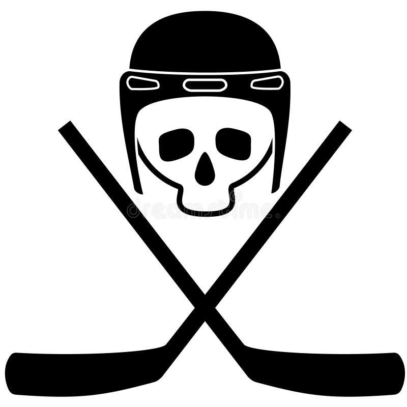 Czaszka w hełmie i krzyżujących hokejowych kijach czarny i biały ikona Biały tło Odosobneni przedmioty niebieski obraz nieba tęcz royalty ilustracja
