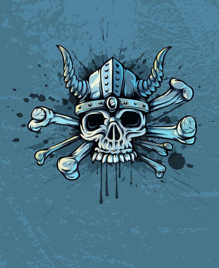 Czaszka w hełmie z rogami i kościami royalty ilustracja