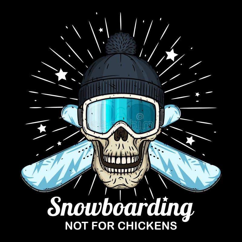 Czaszka w narciarskich gogle, czarnej nakr?tce i krzy?uj?cym snowboard, Kresk?wki czaszka royalty ilustracja